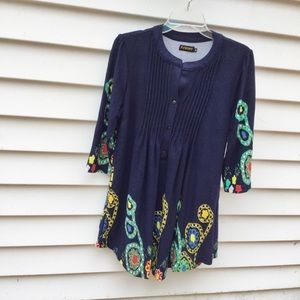 Reborn Tunic Boho Top Floral 3/4 Sleeve Navy M